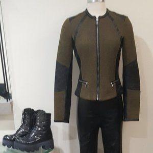 💥STUNNING💥Tweed & Leather Moto Jacket